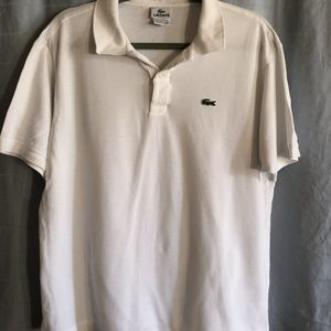 LACOSTE White Short Sleeve Polo
